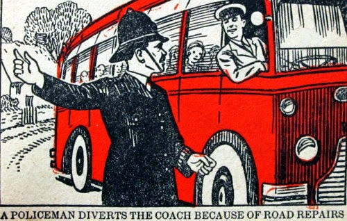 A policeman diverts the coach