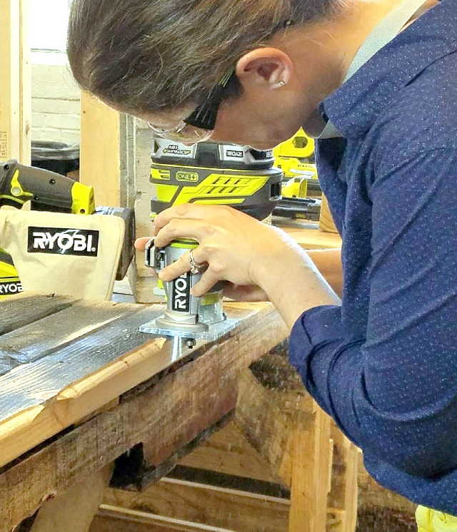 Jaime using Ryobi trim router