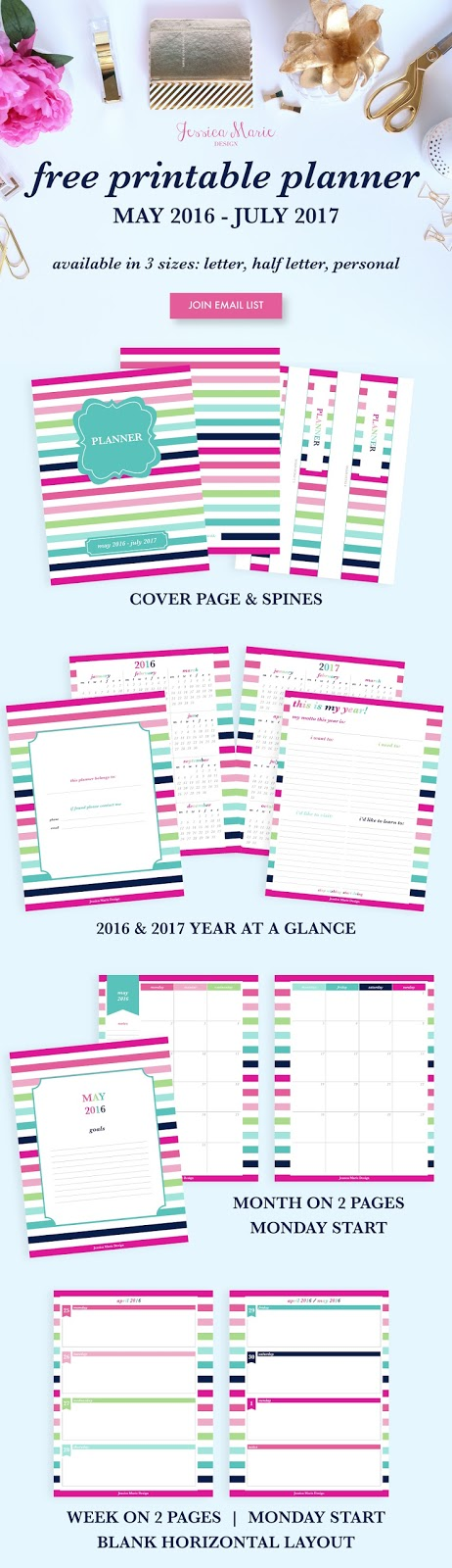 Free 2016-2017 Printable Planner by Jessica Marie Design!