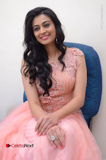 Actress Neha Hinge Stills in Pink Long Dress at Srivalli Teaser Launch  0128.JPG