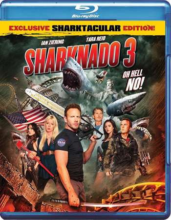 Poster Of Sharknado 3 Oh Hell No! 2015 Dual Audio 300MB BRRip 576p - UNCUT Free Download Watch Online
