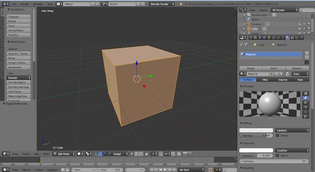 tampilan kubus pada edit mode