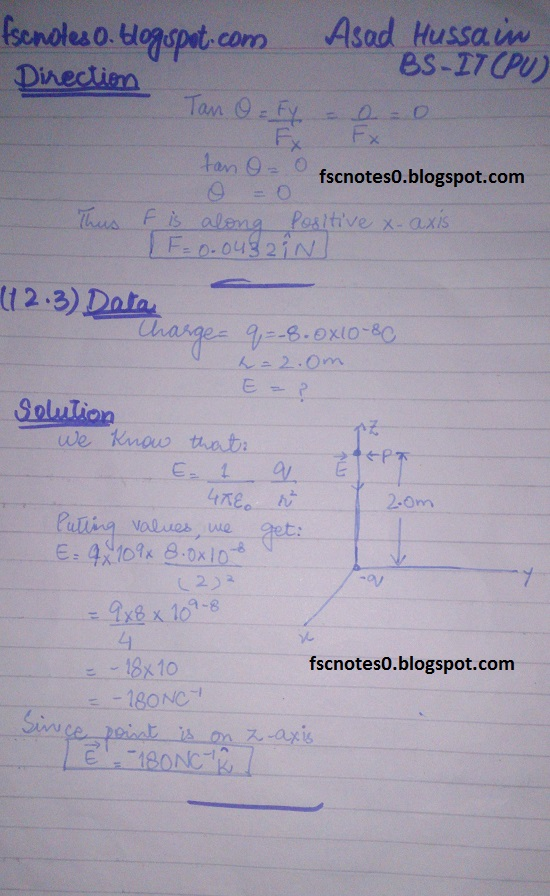F.Sc ICS Notes: Physics XII: Chapter 12 Electrostatics Numerical Problems by Asad Hussain 3