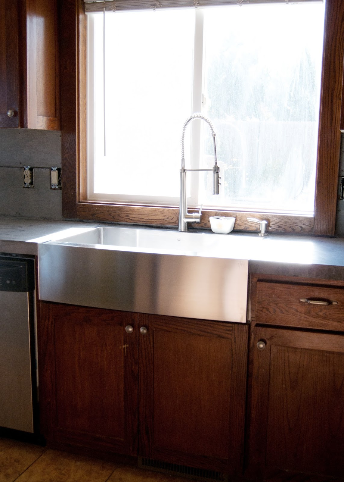 new stainless steel apron front sink apron front kitchen sink Apron Front sink installed flush with concrete counters