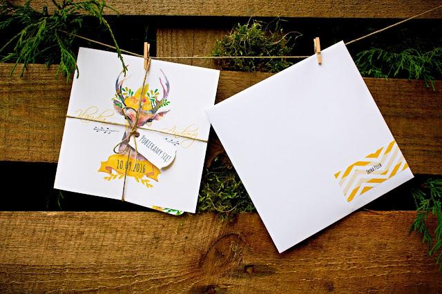 Oryginalne zaproszenia slubne zolte zielone jelen lesne artirea