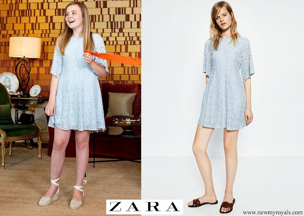 Princess Alexia wore Zara light blue lace babydoll mini dress