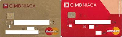 Kartu Kredit Mastercard Gold (Kiri) dan Kartu Debit Mastercard Standard (kanan) Bank CIMB Niaga