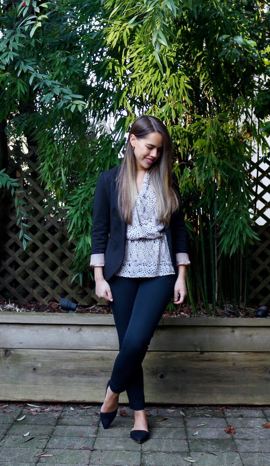 Jules in Flats - Peplum Wrap Top + Blazer (Business Casual Winter Workwear on a Budget)