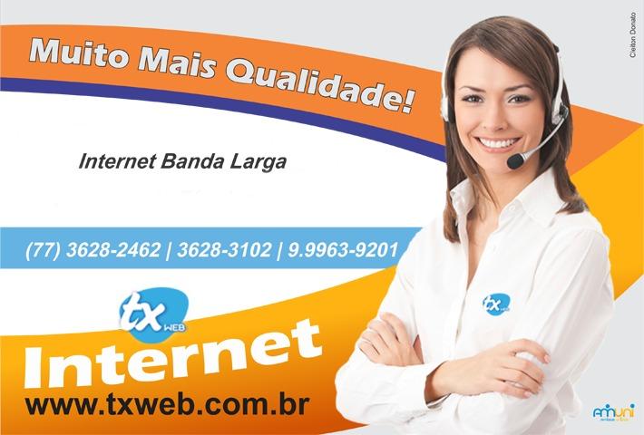 Estamos sempre ONLINE porque usamos TX WEB - A melhor internet banda larga!!!