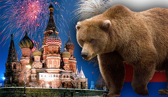 catedral de san basilio rusia con el oso ruso