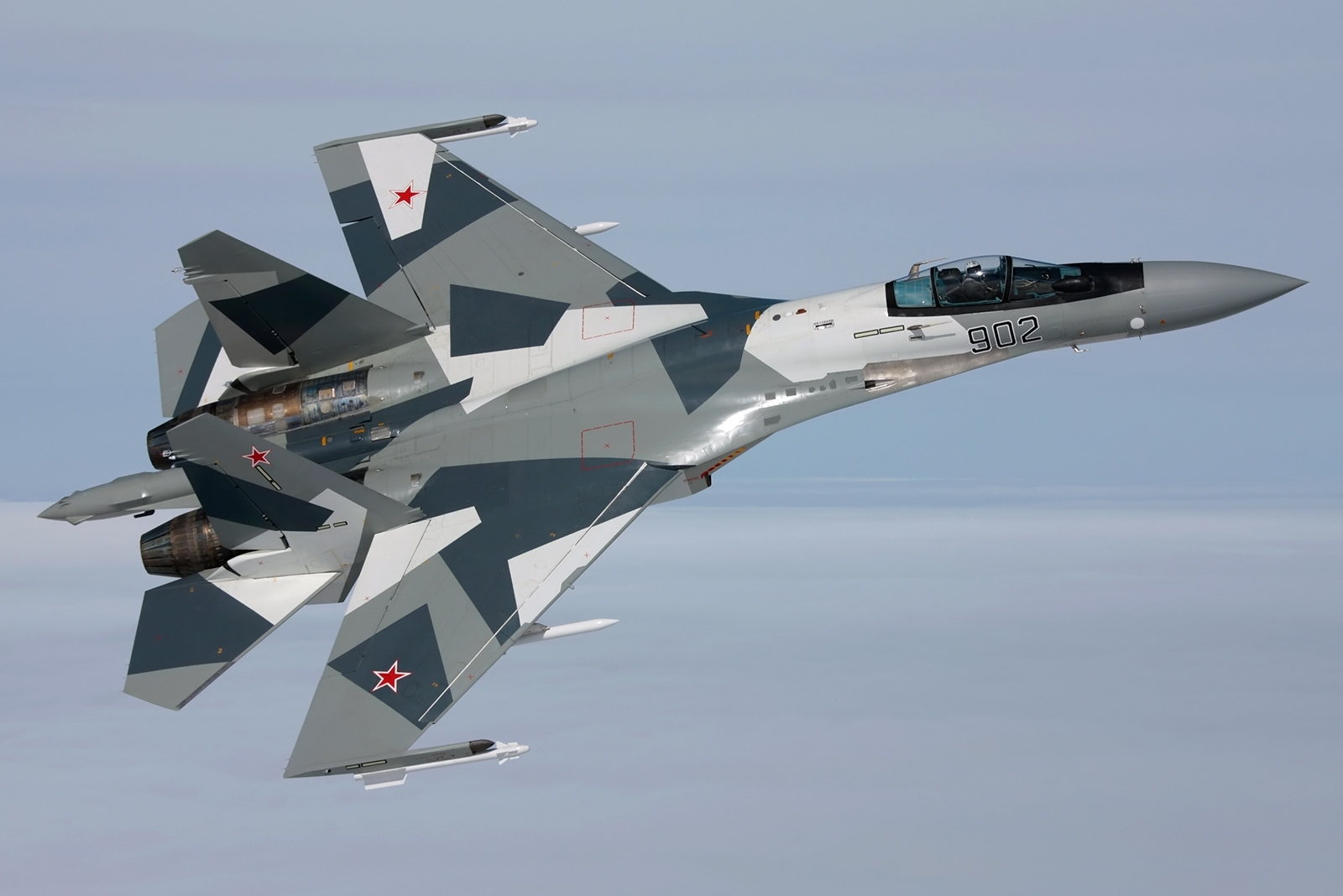 Sukhoi Su 35 While On Maneuvering Flying Above The Sky This Jet Fighter Coming From Russian Air Force Grey Based Paint Looks Amazing Blending