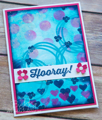 Hooray! Card With a Stenciled and Stamped Background