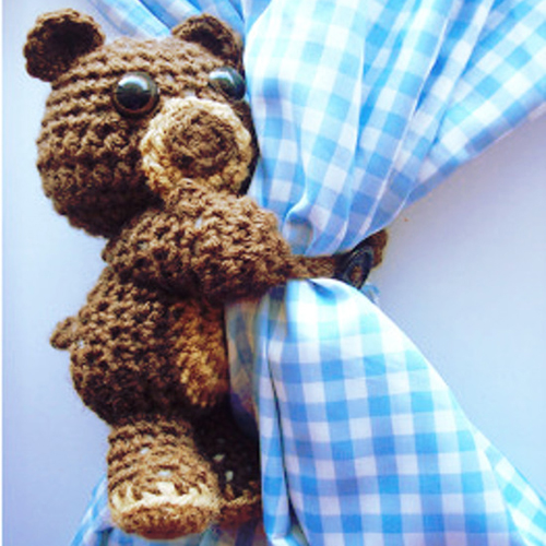 Curtain Hugging Crochet Bear - Free Pattern