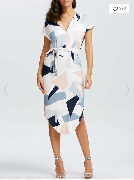 short-sleeve-geometric-print-midi-dress