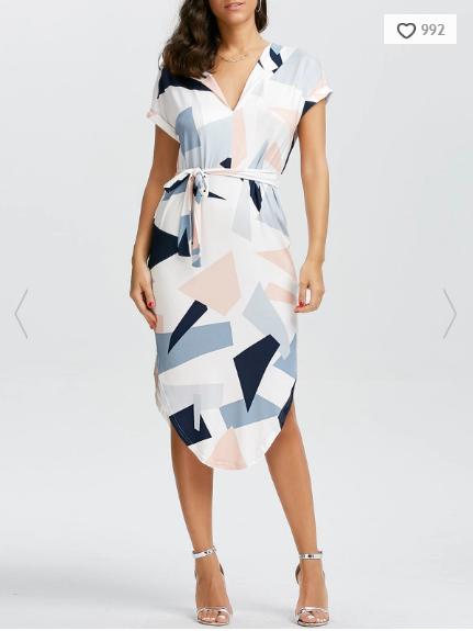 short-sleeve-geometric-print-midi-dress