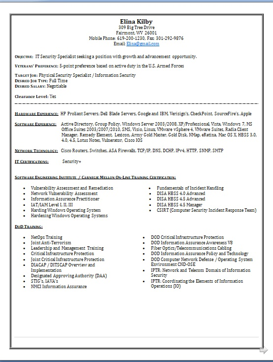 Physical Security Specialist Sample Resume Format In Word