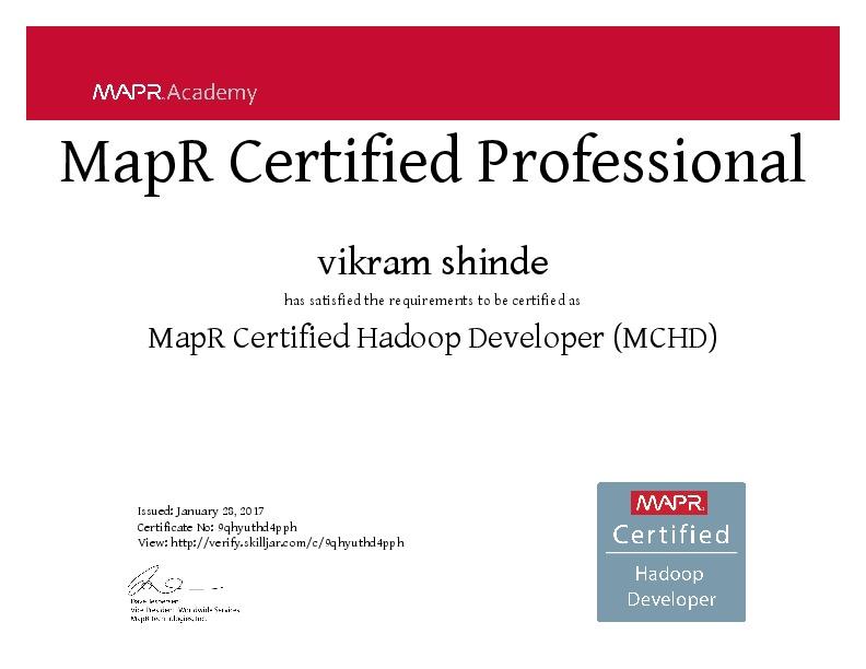 Vikram Shinde Mapr Hadoop Developer Certification Exam