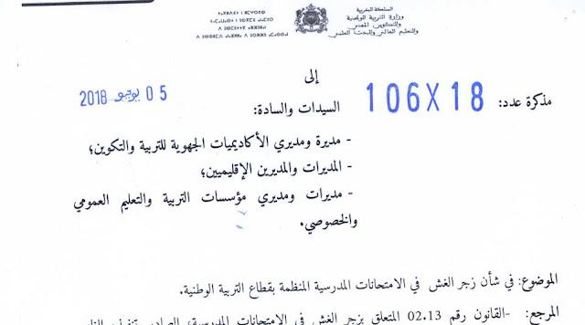 مذكرة وزارية في شأن زجر الغش في الامتحانات المدرسية المنظمة بقطاع التربية الوطنية