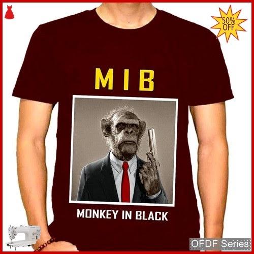OFDF282 Kaos Pria Spandex Monkey In Hitam BMGShop