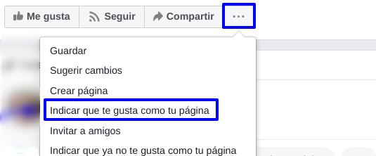 """Pestaña ... en FB para la opción de """"te gusta"""" como página"""