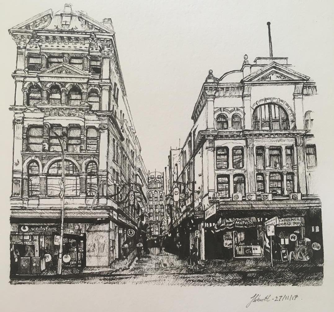 01-Degraves-St-Melbourne-Julia-Schmitt-Visual-Diary-Ballpoint-Pen-Urban-Sketches-www-designstack-co