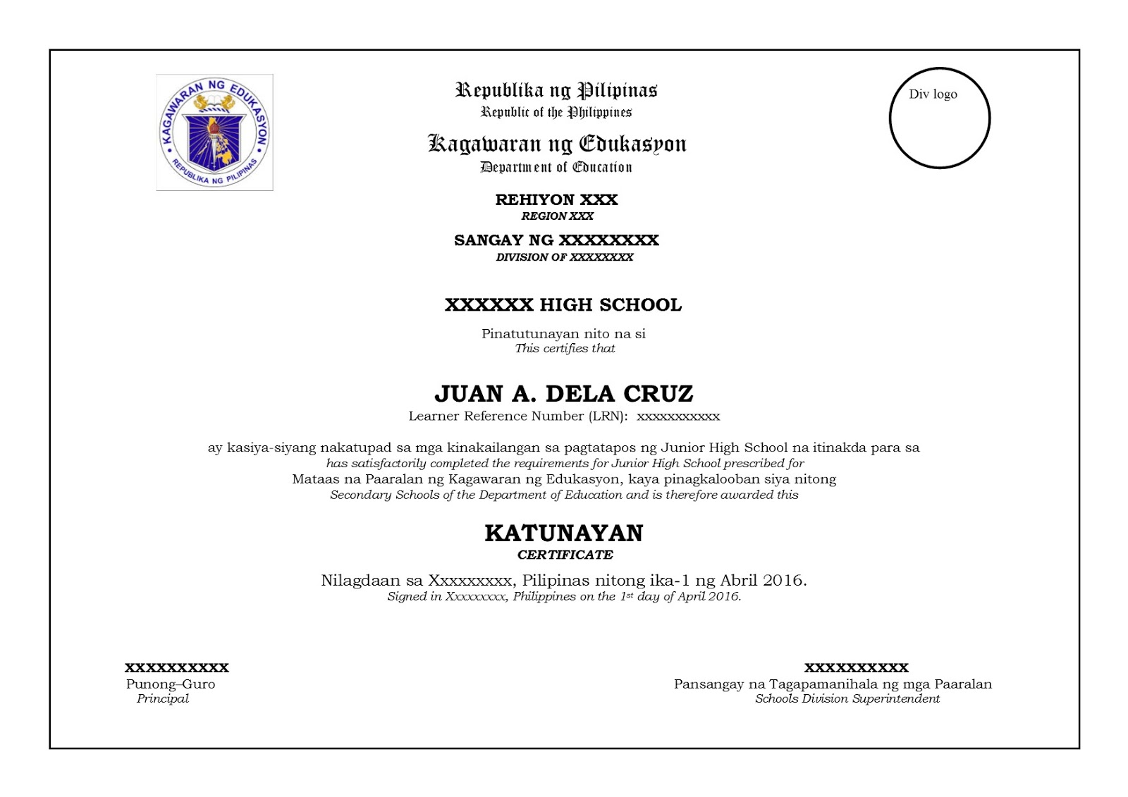 Final and official sample template for grade 6 and grade 10 final and official sample template for grade 6 and grade 10 certificate from deped central office yelopaper Images