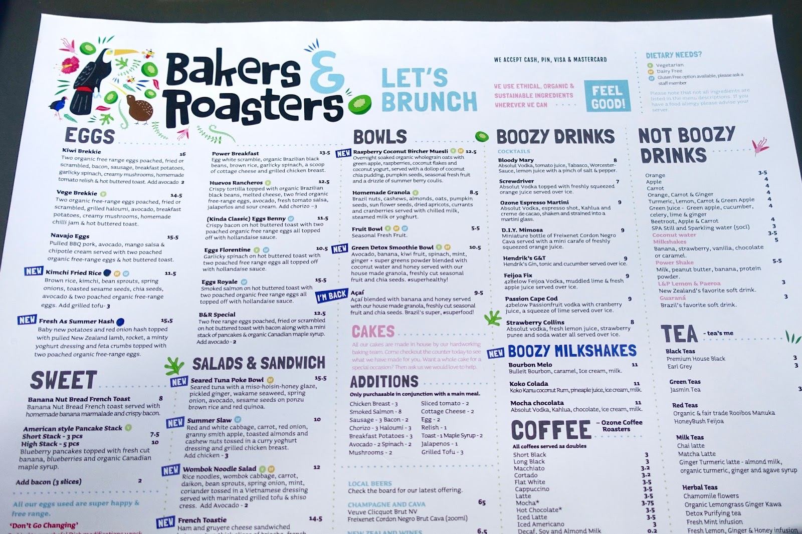Bakers and roasters menu Amsterdam