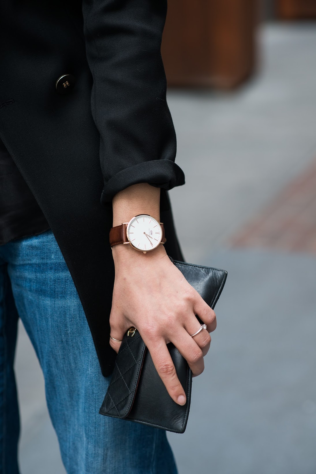 Daniel Wellington classic watch, Chanel wallet, Reiss double breasted blazer, Reiss, ShopStyle Social house,True Religion denim, True Religion silk cami