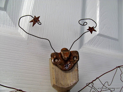 mixed media dragonfly recycled art