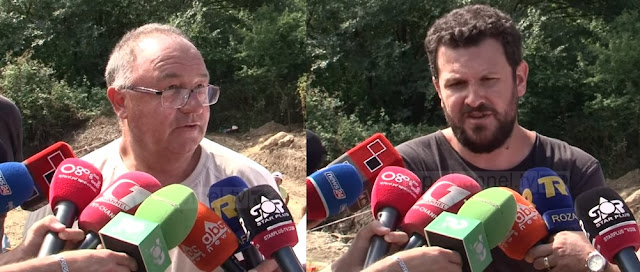 Piot Dyczek and Saimir Shpuza speaking to media about the acient city