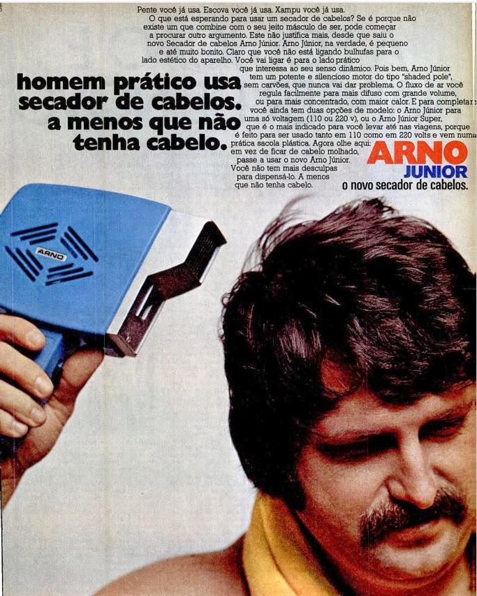 Propaganda antiga do secador de cabelo masculino da Arno nos anos 70