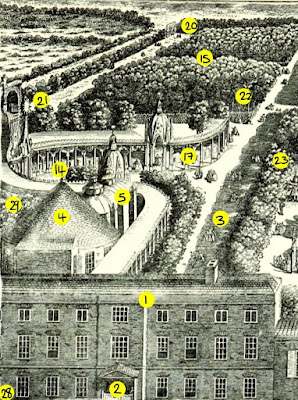Vauxhall Gardens from an engraving dated 1751  from South London by W Besant (1899) - left section