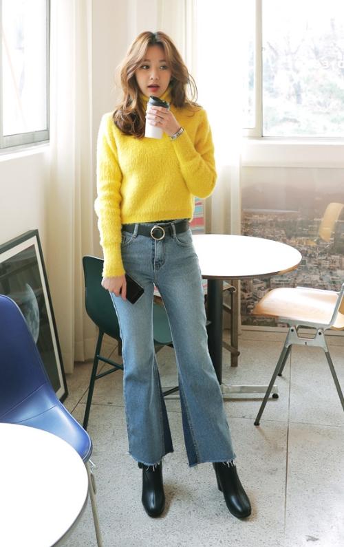 High-Waist Contrast Bootcut Jeans