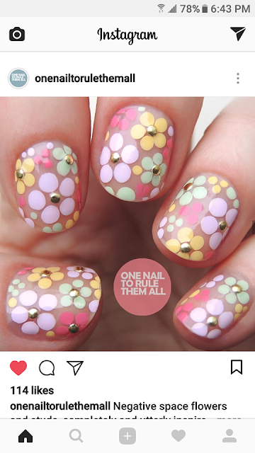 Instagram, nails, dotting, flowers, nailart