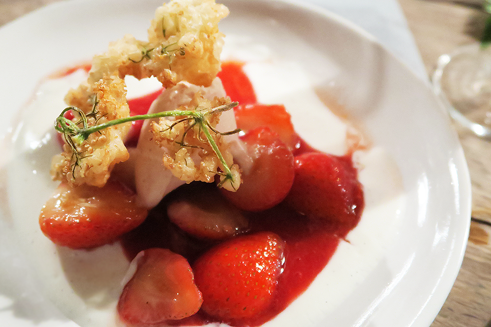 Vanilla Yogurt with Northern Bloc Strawberry and Black Pepper Ice Cream, Strawberry Compote, Strawberries and Elderflower Fritter