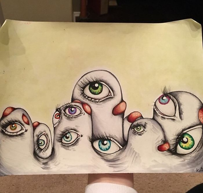 Here is an example of the disembodied eyes I see. They surface in a mounds or masses on my walls or floors. They warp and move. - I Was Diagnosed With Schizophrenia At The Age Of 17, So I Started Drawing My Hallucinations To Cope With It