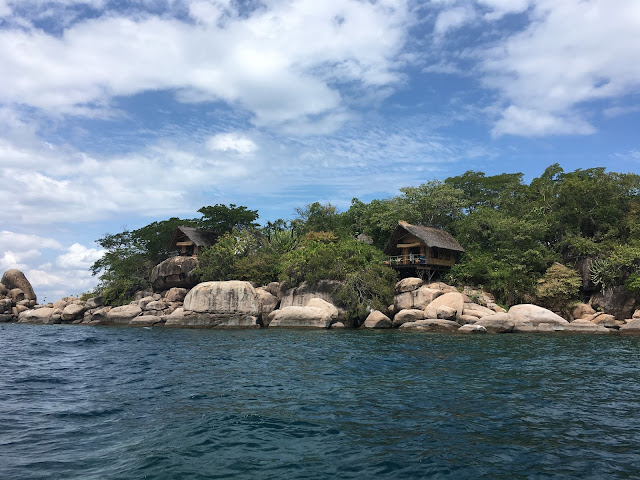 The view of the chalets as you arrive at Mumbo Island - Lake Malawi