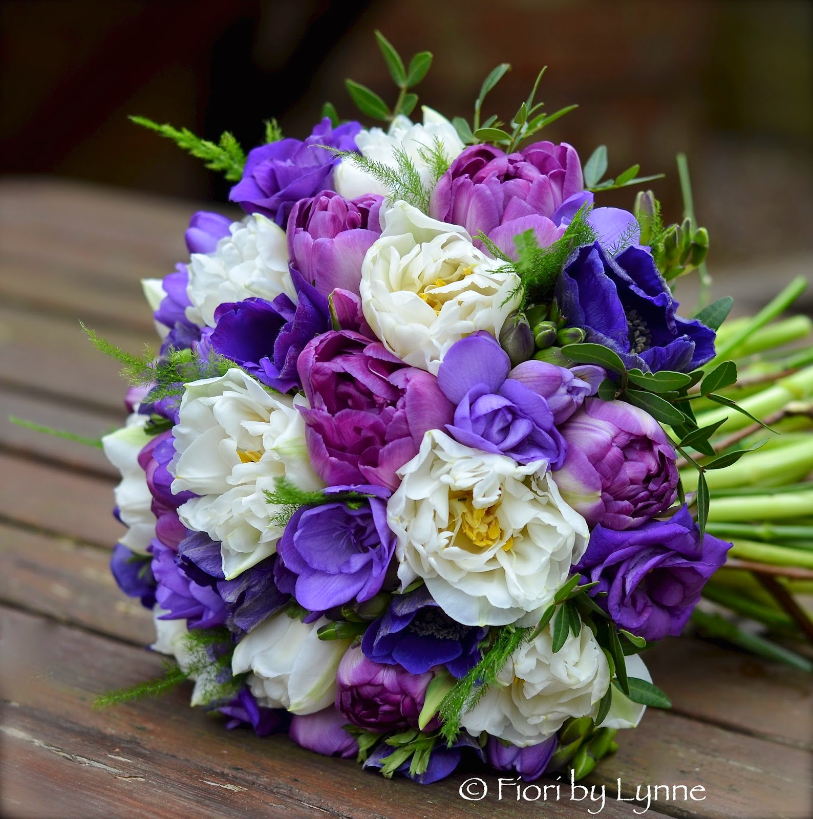 Pink Rose and White Tulip Bridal Bouquet