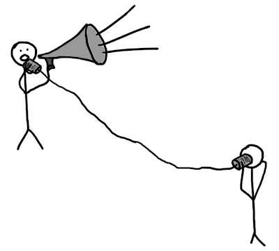 stick figure holding tin-can-and-string telephone but also a megaphone