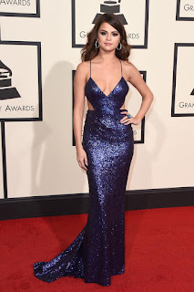 Spaghetti Straps V-neck Sequined Celebrity Red Carpet Prom Dress - Selena Gomez