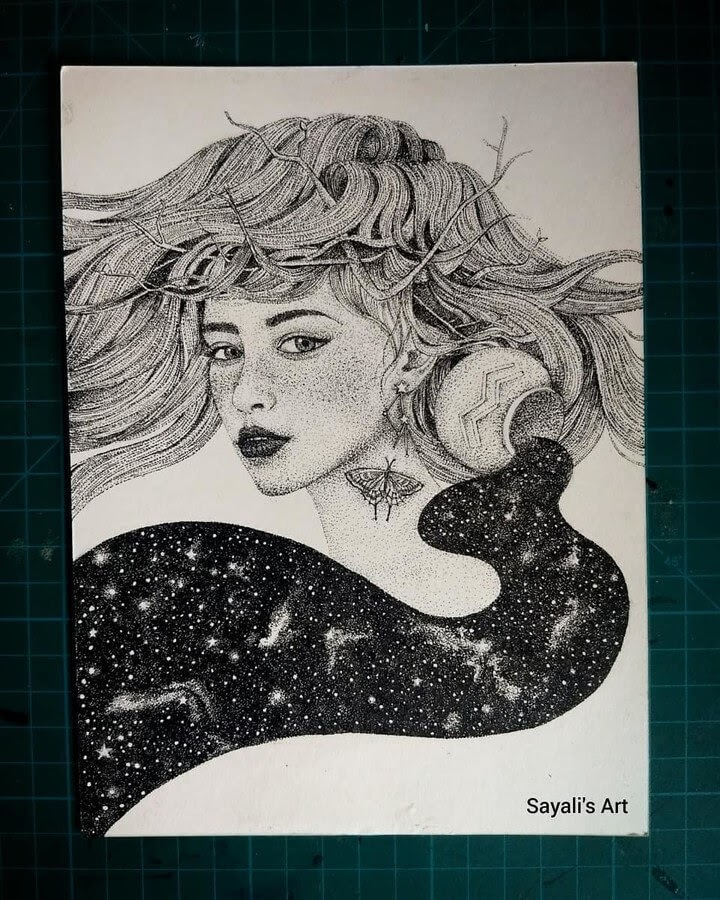 01-Aquarius-Zodiac-Sayali-Horambe-Stippling-Fantasy-Art-Drawings-www-designstack-co