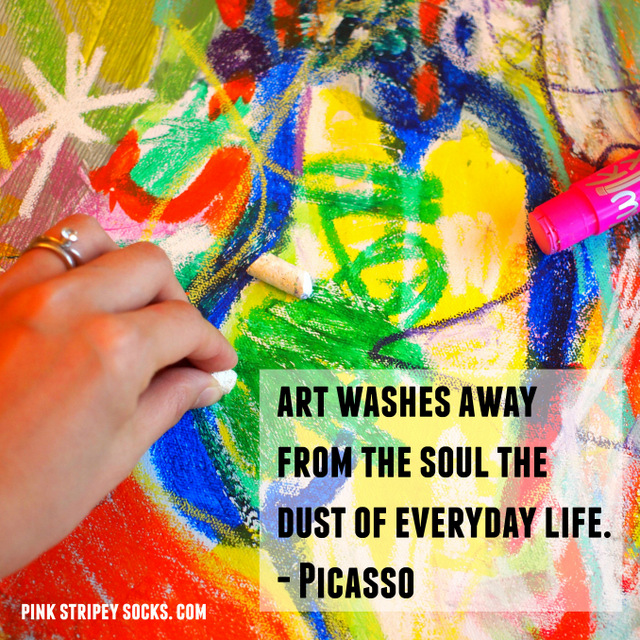 Art washes away from the soul the dust of everyday life- Picasso quote and family art activity