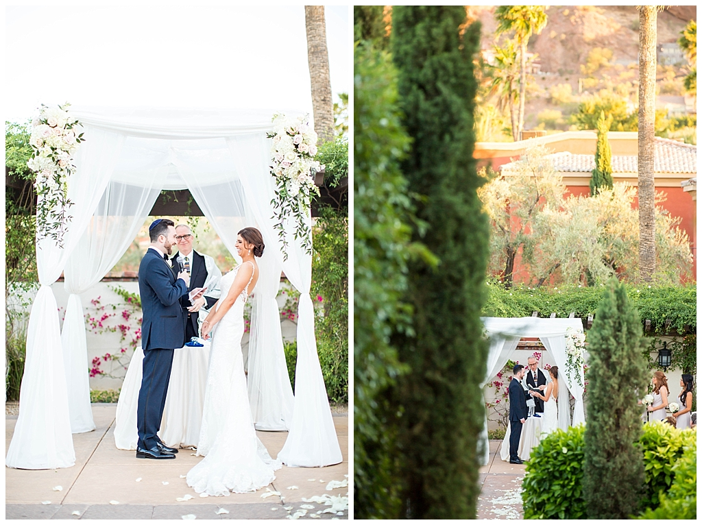 jewish wedding ceremony with Camelback mountains at Omni Montelucia wedding