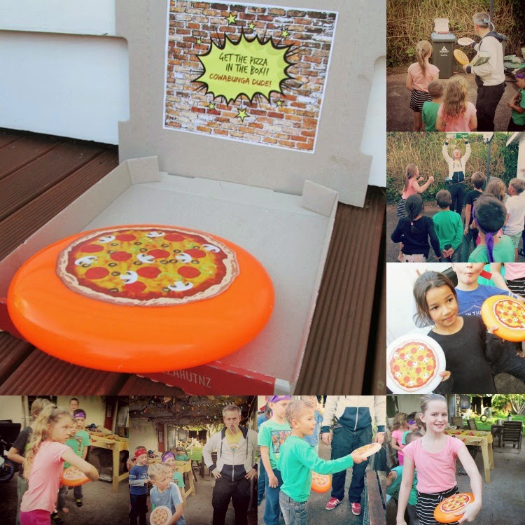 TMNT Party games - get the pizza in the box