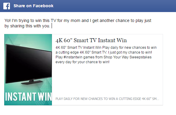 Play for a chance to win a Big Screen TV