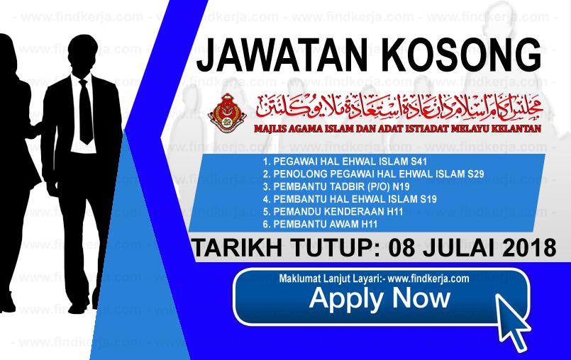 Jawatan Kerja Kosong Majlis Agama Islam Dan Adat Istiadat Melayu Kelantan logo www.ohjob.info www.findkerja.com julai 2018