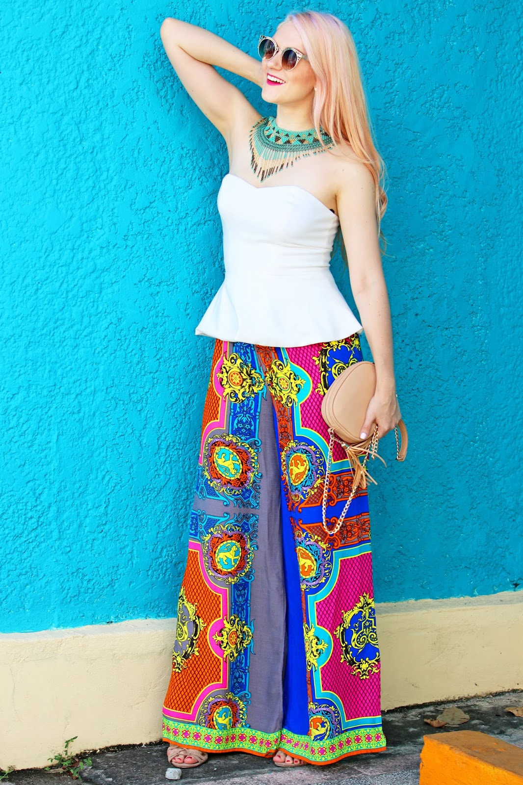 Colorful Palazzo pants outfit