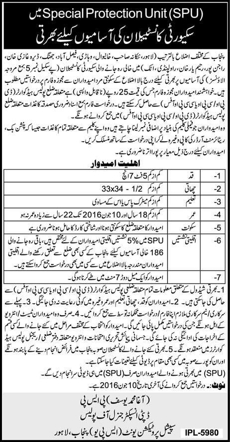 Constable Jobs in Punjab Police SPU Jobs 2016