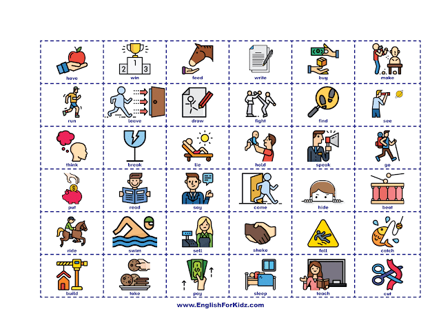 Irregular verbs game picture cards