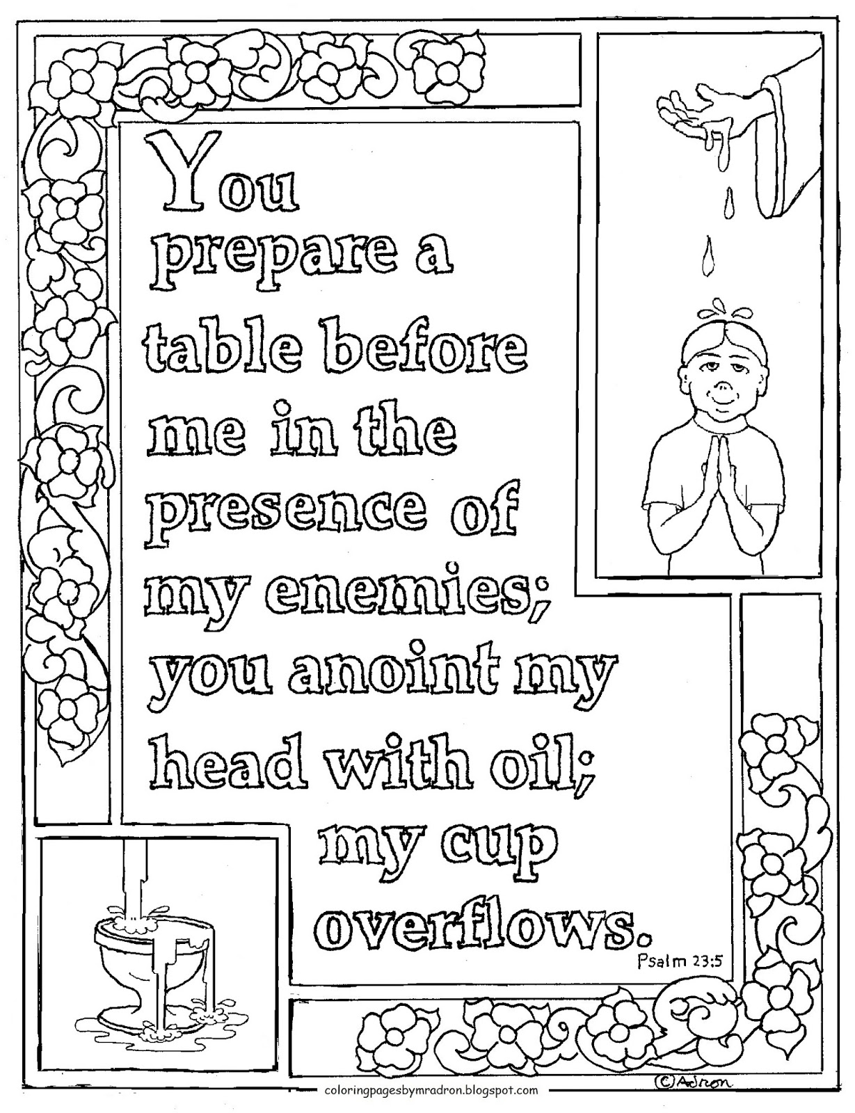 Coloring Pages For Kids By Mr Adron Printable Psalm 23 5
